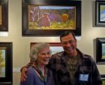 Judge Leslie Allen and Cliff Austin under his first place award winning artwork