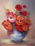 """Nana's Ranunculus"" acrylic by Natalie Thurston"