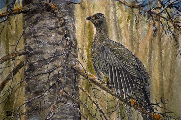 """1st Place """"Camo Dusky"""" watercolor and ink by Curt Gillespie"""