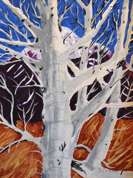 """Juror's Choice """"Winter Tree"""" acrylic by Sharon Orman"""