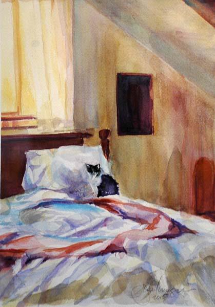 """Juror's Choice """"Upstairs Bedroom"""" watercolor by Jean Krueger"""