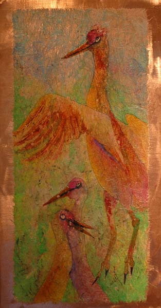 "3nd Place ""Myron Charms the Girls"" watercolor batik on copper painting by Carol Losinski-Naylor"