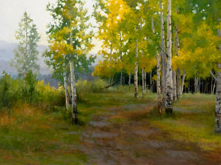 Beautiful oil painting of fall colored aspens