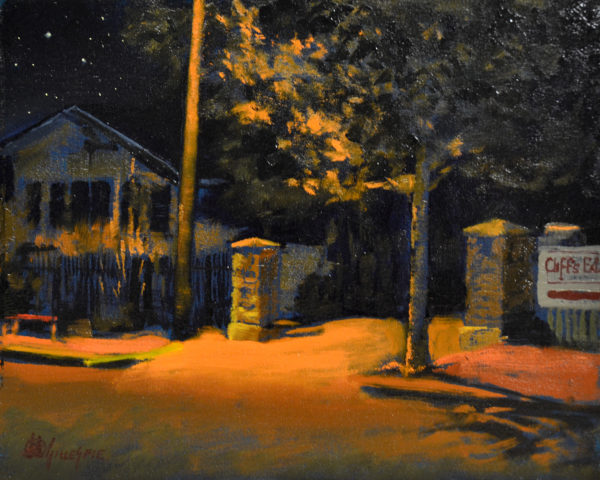Night time oil painting with warm hues of a street scene lite by an overhead streetlight