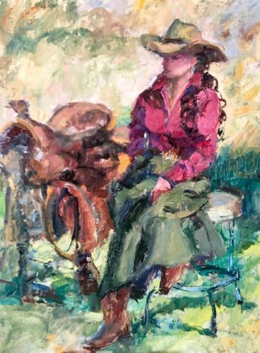 A colorful impressionistic oil painting of a cowgirl in plume colored blouse and green pant suit sitting next to saddle on a bench