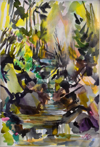 Colorful impressionistic watercolor painting of a creek