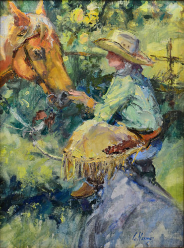 Colorful impressionistic oil painting of a cowgirl communing with her horse