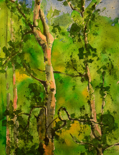Impressionistic watercolor painting of aspen trees with interesting branch shapes that create the image of a pelican within the branches