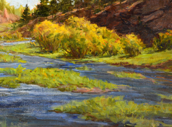 Representational oil painting mostly of a creek meandering through a rocky canyon with yellow willows in the background