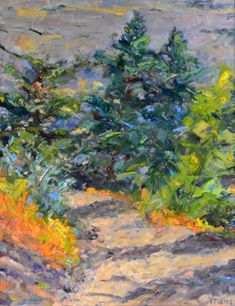 Colorful impressionistic oil painting of a treed path on a mountain way
