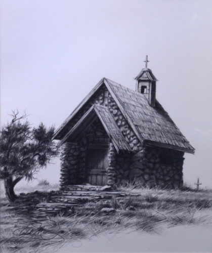 Black and white graphite pencil drawing of an old one-room stone church