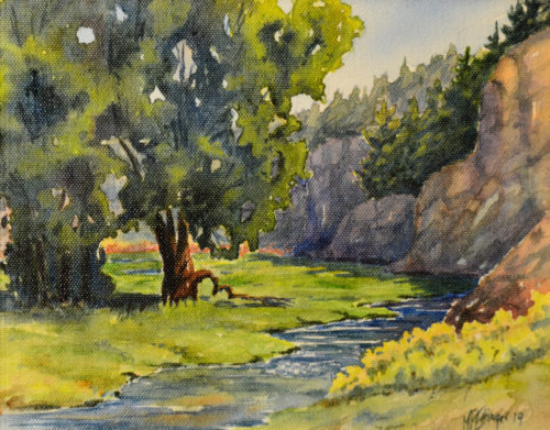 Colorful acrylic on canvas painting of trees along a lush meandering creek