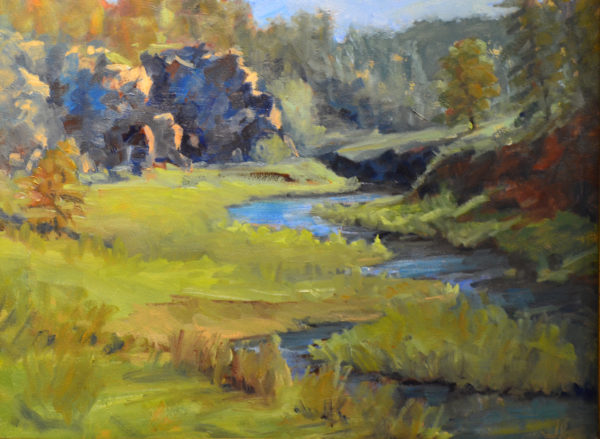 A beautifully rendered oil painting of a blue creed meandering through a lush green canyon with racky background