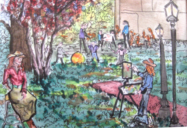 Colorful ink and watercolor painting of a scene of artists painting in the park