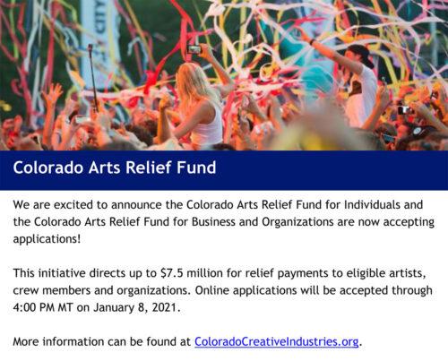 Info on Colorado Arts relief Fund